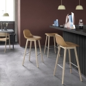 Fiber Barstool W. Backrest wood base H. 65 cm