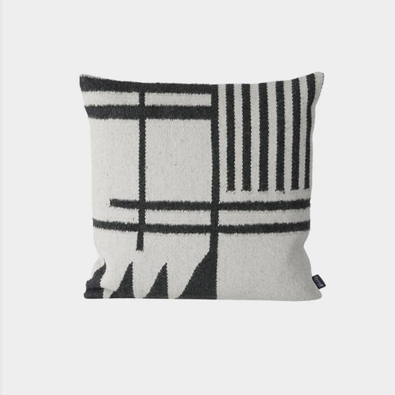 Kelim Cushion - Black Lines