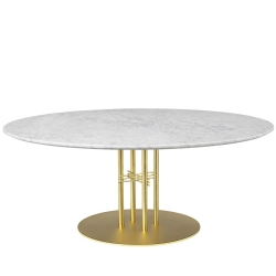 TS Column Dining Table- Round, Brass Base